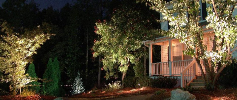 Creative Garden Spaces Inc, Oak Ridge NC, night lighting, landscape lighting