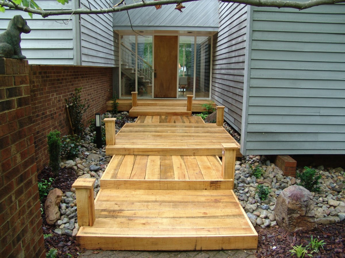 Creative Garden Spaces Inc, wood bridge, dry creek bed