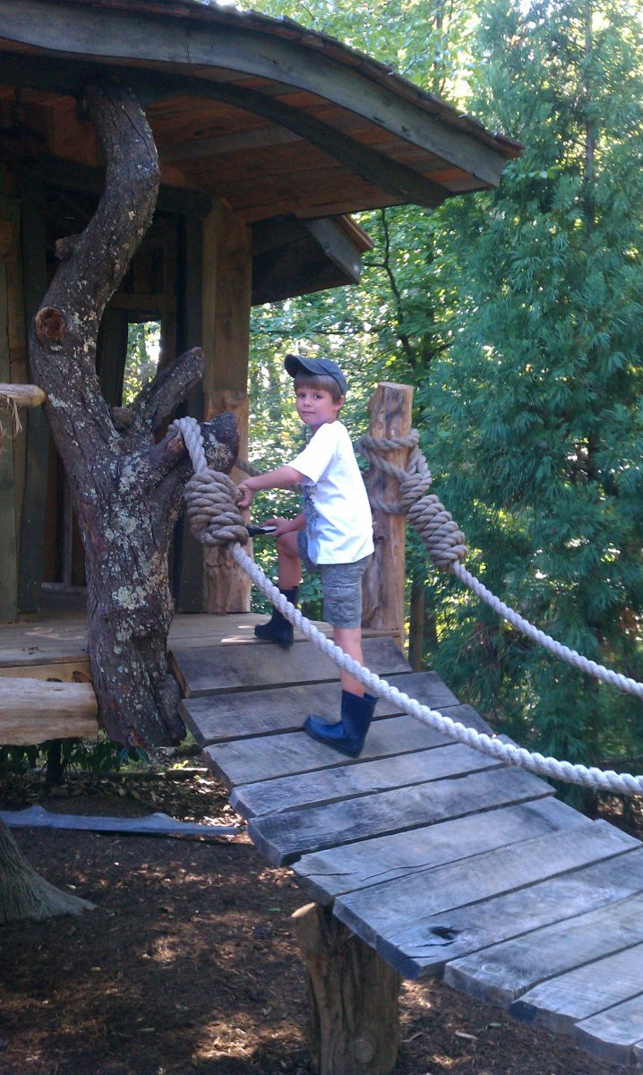 Creative Garden Spaces Inc, Oak Ridge NC, custom tree house, playspaces, woodworking, wood bridge