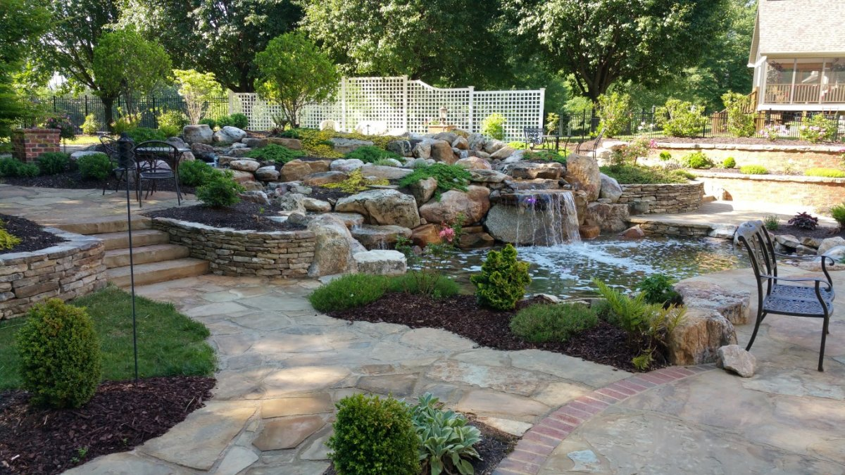 Creative Garden Spaces Inc, Danville VA, water feature, pond, landscape, hardscape, patio, stone steps, stone walls, flagstone, groundcovers