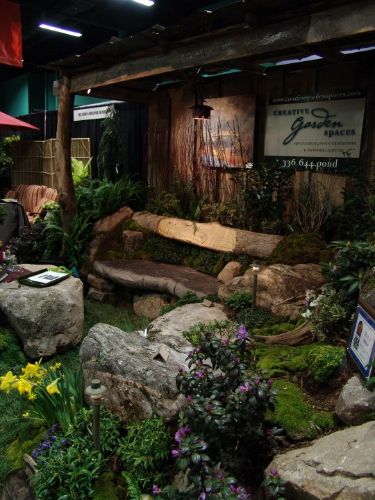 Creative Garden Spaces, Inc, Southern Ideal Home Show, custom stone bench, custom stonework, stone masonry, landscape design, custom woodworking