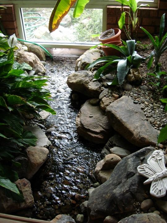 Creative Garden Spaces Inc, Greensboro NC, indoor water feature, indoor stream, indoor/outdoor stream
