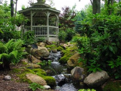 Creative Garden Spaces Inc, Lake Jeanette, Greensboro NC, water feature, natural waterfall, water garden, natural looking stream, pond, creative landscape, mossy boulders, landscape boulders