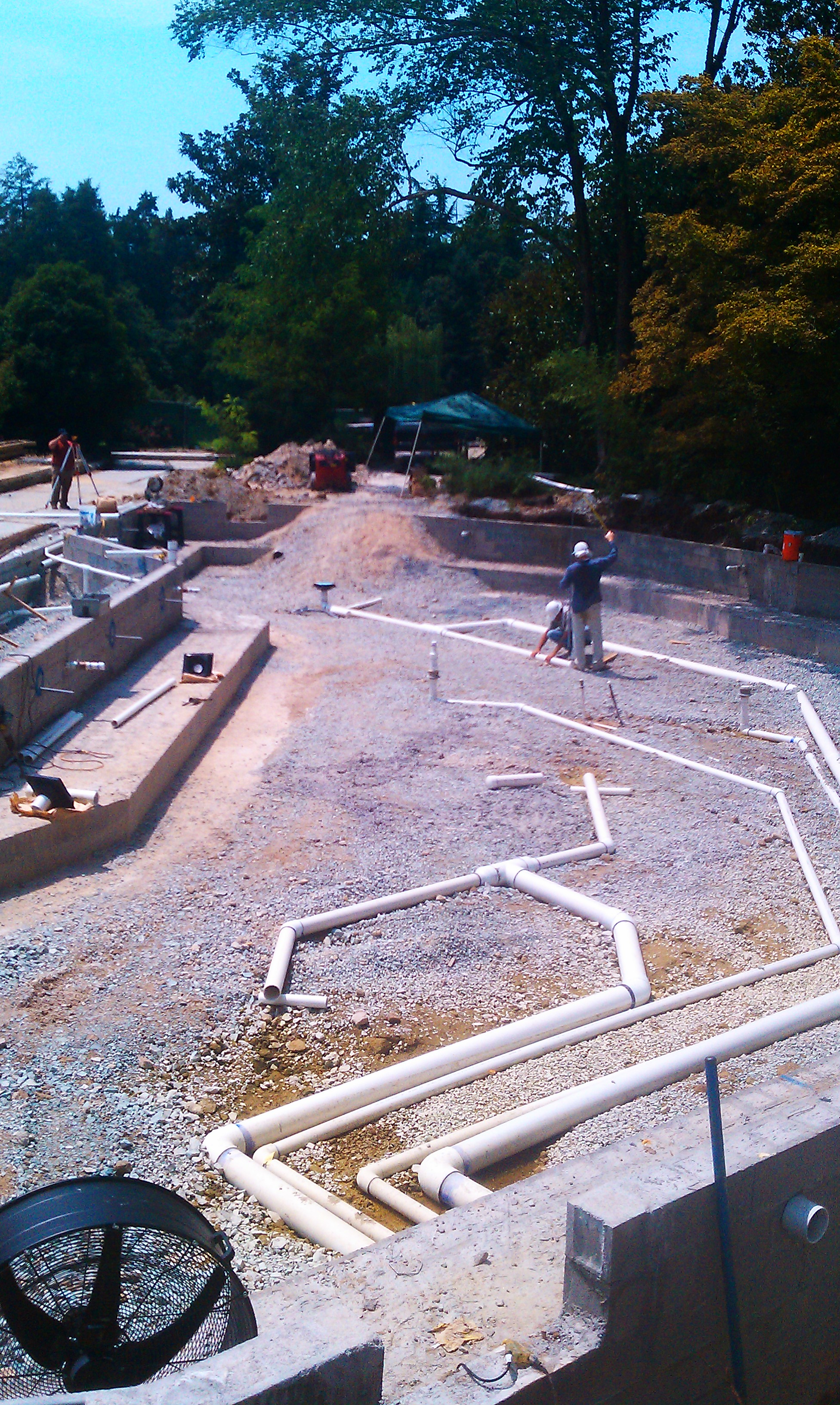Creative Garden Spaces Inc, Sara P. Duke Gardens, Durham NC, pond construction, pond plumbing
