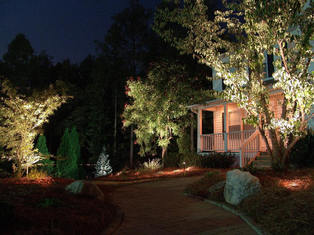 Creative Garden Spaces Inc, Oak Ridge NC, outdoor lighting, night lighting, landscape lighting