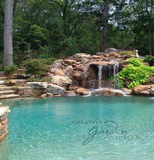 Creative Garden Spaces Inc, Winston-Salem NC, pool waterfall, water feature, pool fountain