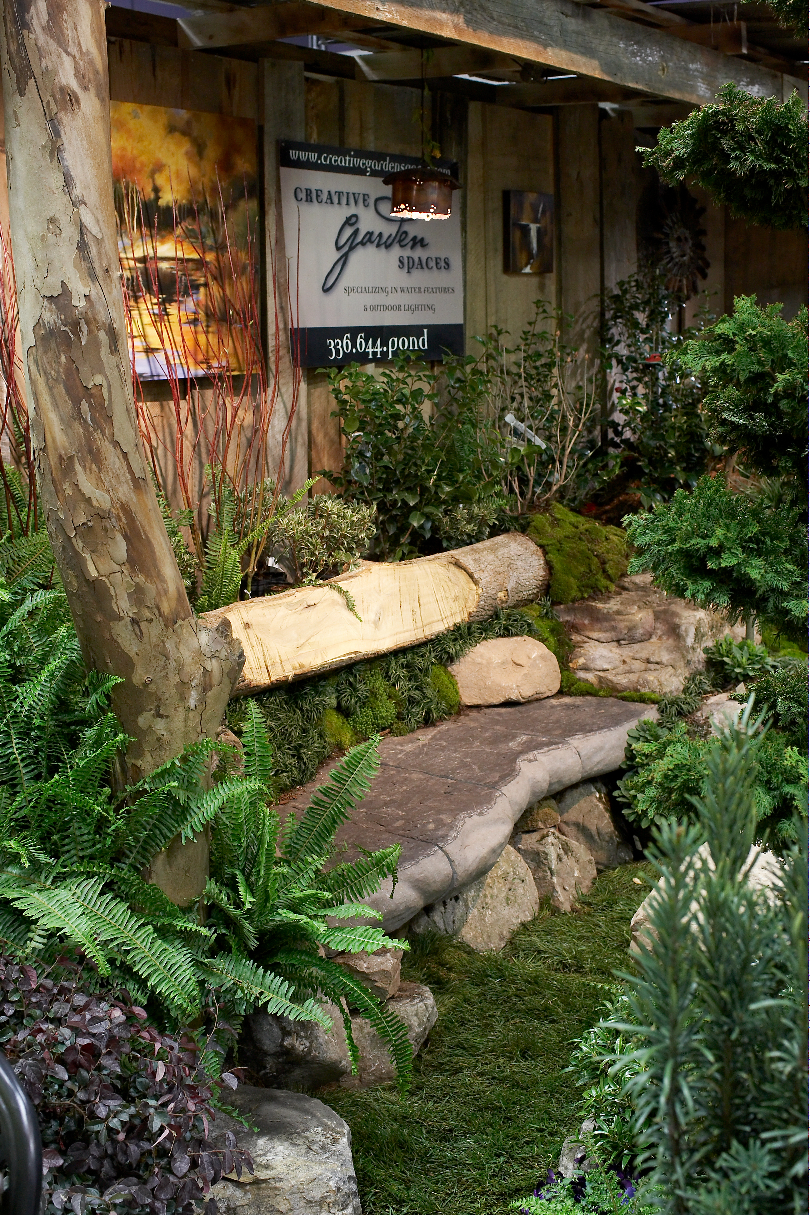 Creative Garden Spaces, Inc, Southern Ideal Home Show, custom stone bench, stone masonry, landscape design, woodworking